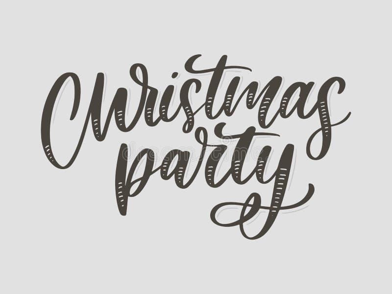 Plantilla del cartel de la fiesta de Navidad Letra escrita mano, tipograf?a chispeante foto de archivo