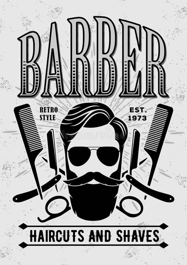 Plantilla del cartel de la peluquería de caballeros con la cara del inconformista libre illustration
