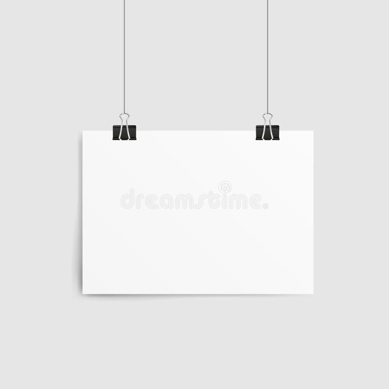 Plantilla del cartel de una hoja de papel Ejecución de papel vacía de la maqueta del marco con el clip de papel libre illustration