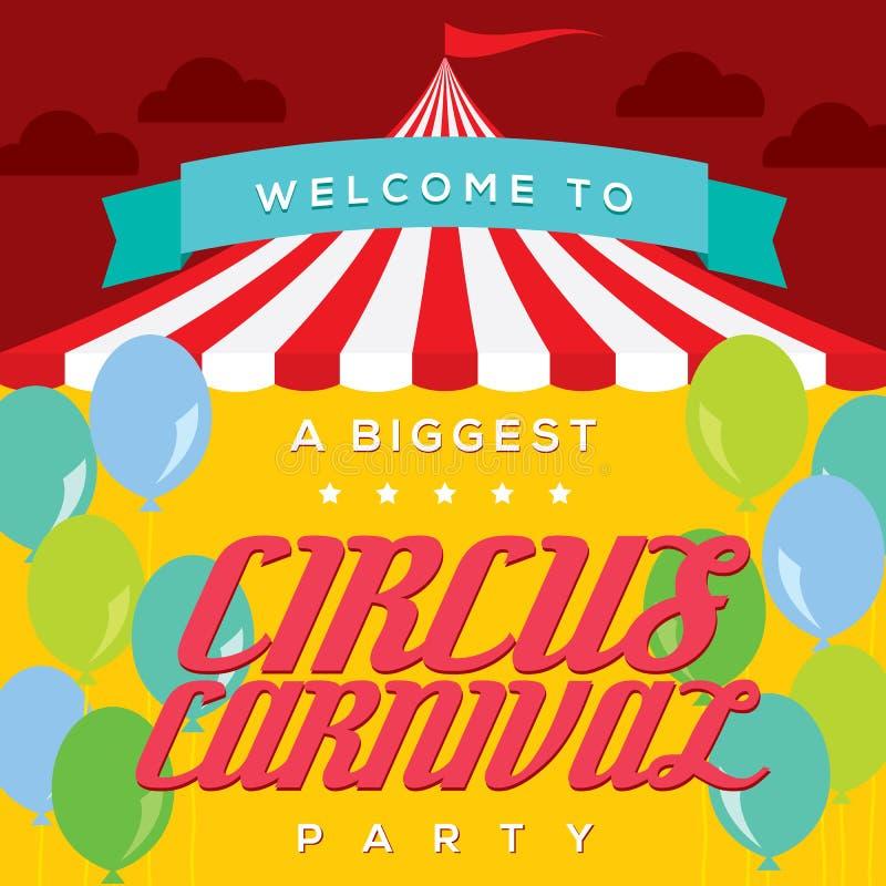 Plantilla del cartel del carnaval del circo stock de ilustración