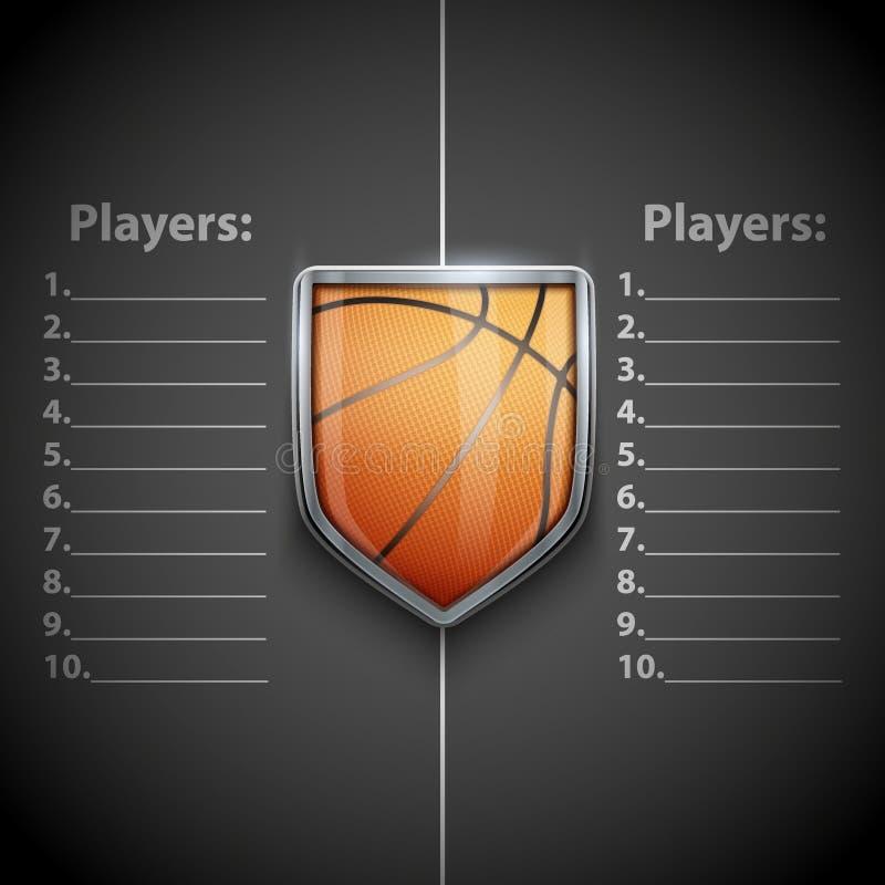 Plantilla del cartel del emblema del baloncesto stock de ilustración
