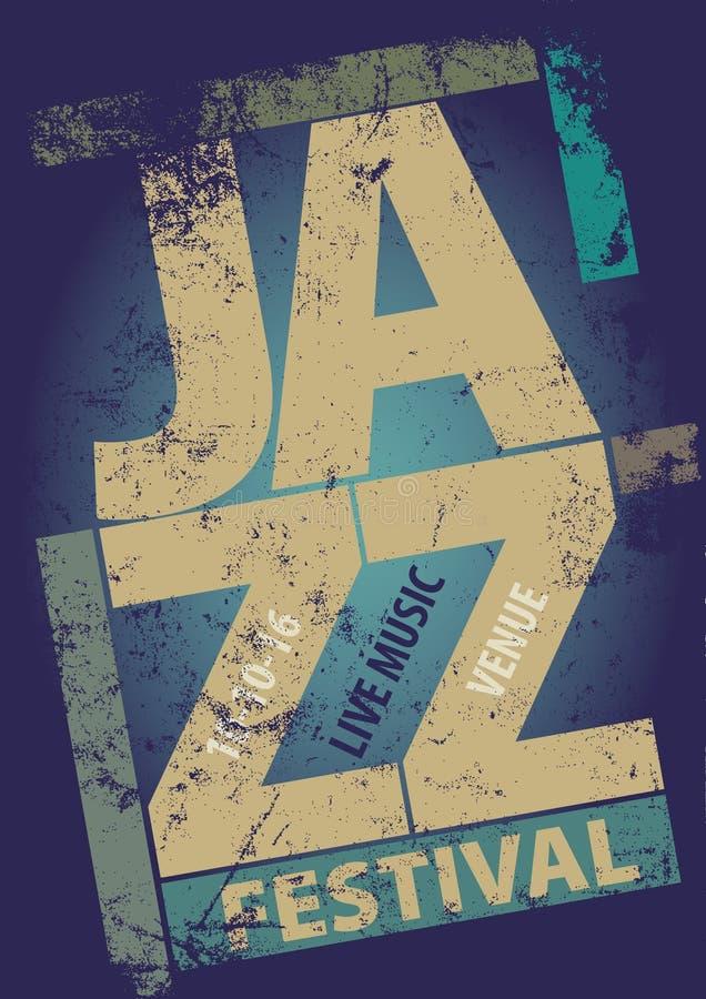 Plantilla del cartel del festival de jazz stock de ilustración