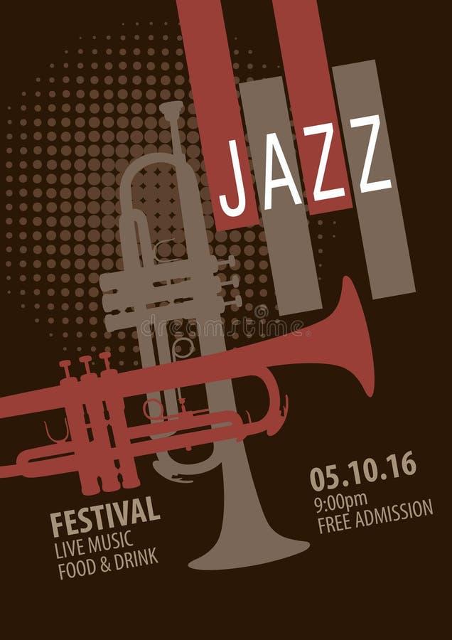 Plantilla del cartel del festival de jazz ilustración del vector