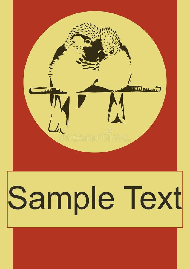 Plantilla del cartel del vector de los pájaros del amor de los pares del gorrión libre illustration