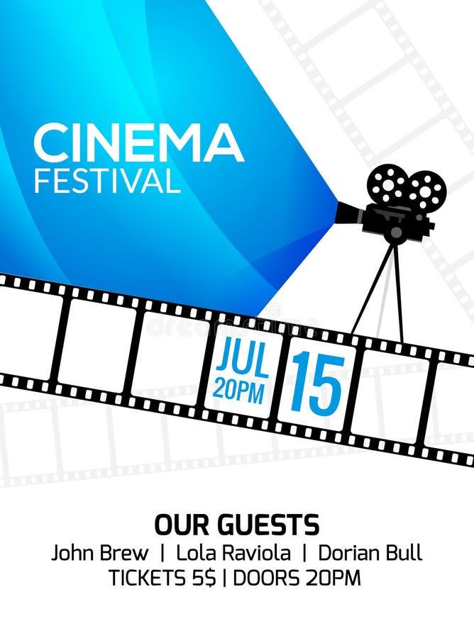 Plantilla del cartel del festival del cine Videocámara y línea ejemplo del vector de la videocinta Fondo del arte del festival de stock de ilustración