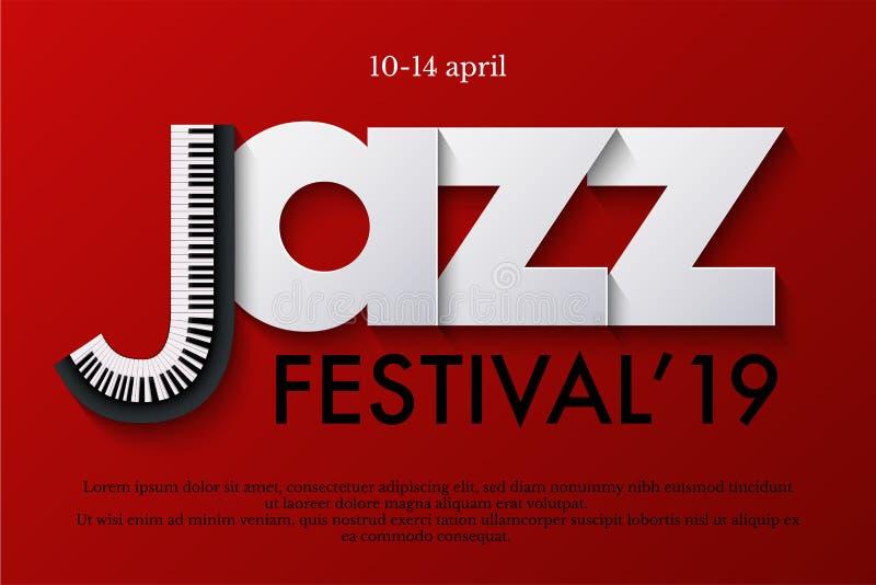 Plantilla del cartel del festival de música de jazz Teclado y letras de papel en fondo rojo Diseño del aviador o de la bandera de ilustración del vector