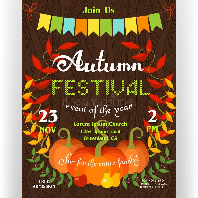Plantilla del cartel del festival del otoño para la celebración ilustración del vector