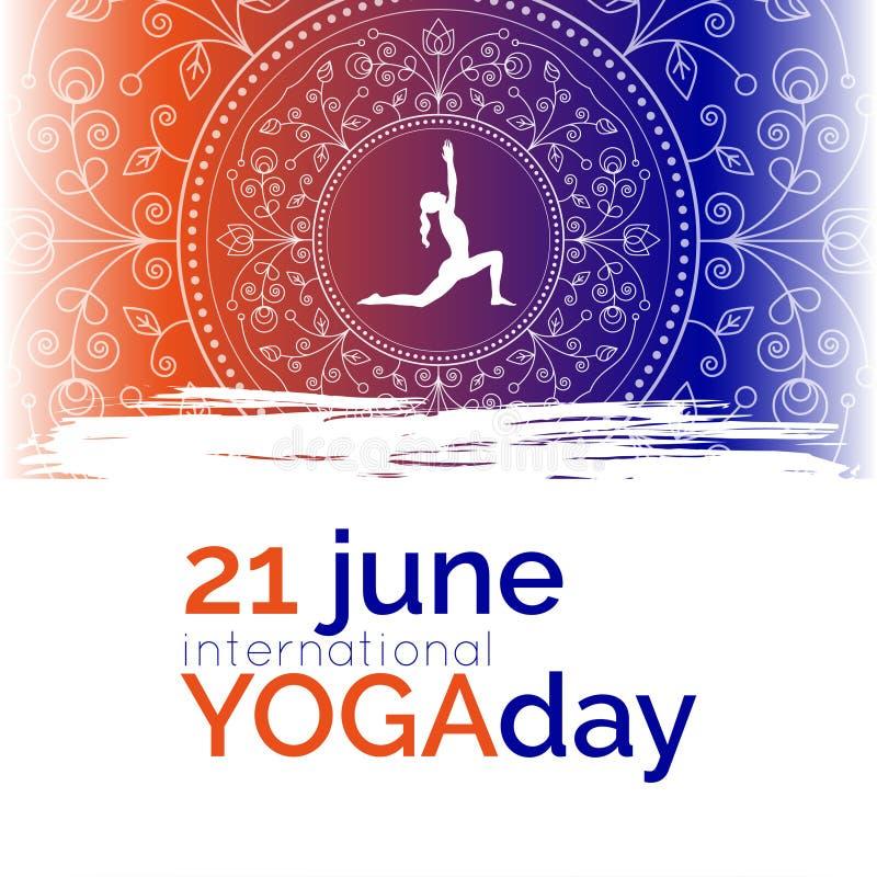 Plantilla del cartel para el día internacional de la yoga stock de ilustración