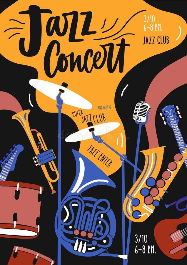 Plantilla del cartel para el funcionamiento, el festival o el concierto de la orquesta de la música de jazz con los instrumentos  stock de ilustración