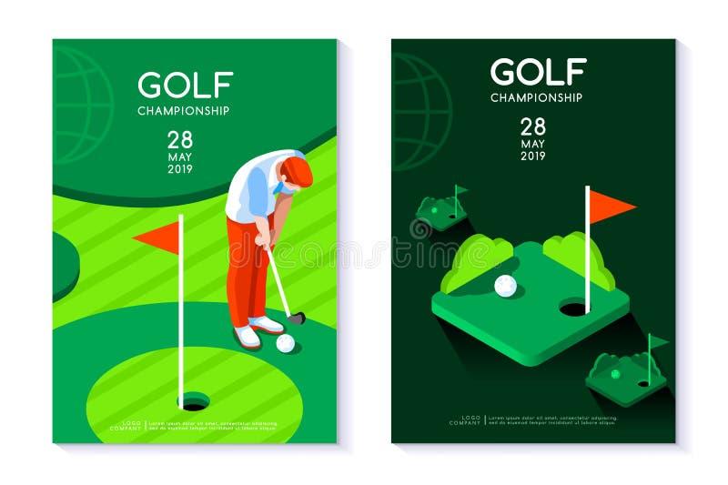 Plantilla del cartel del torneo del círculo del verde del agujero del club de golf libre illustration
