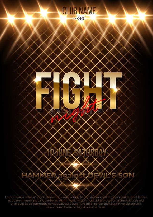 Plantilla del cartel del vector de la noche de la lucha con el espacio del texto libre illustration