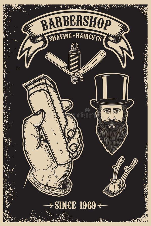 Plantilla del cartel del vintage de la peluquería de caballeros Diseñe el elemento para el cartel, emblema, muestra, camiseta stock de ilustración