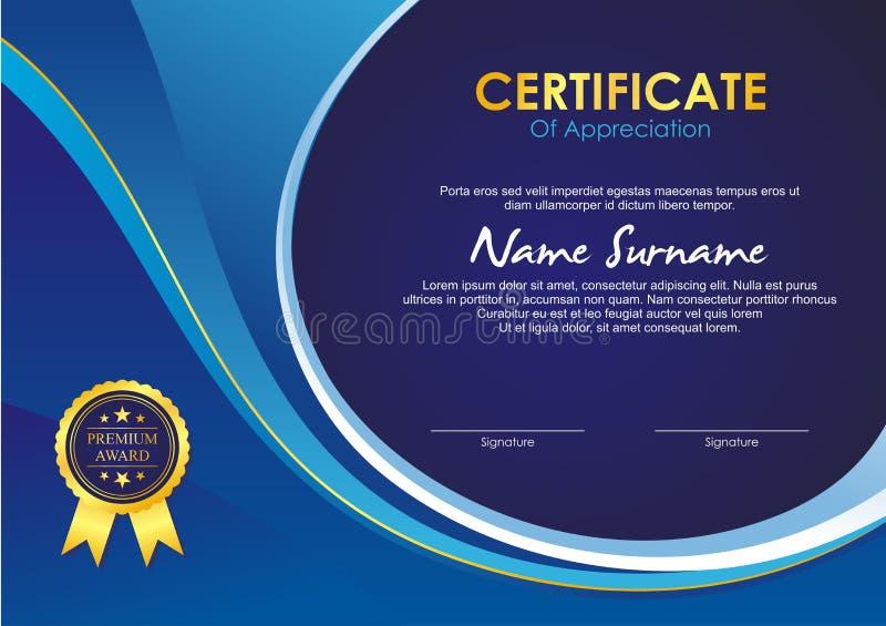 Plantilla del certificado con diseño elegante de la onda libre illustration