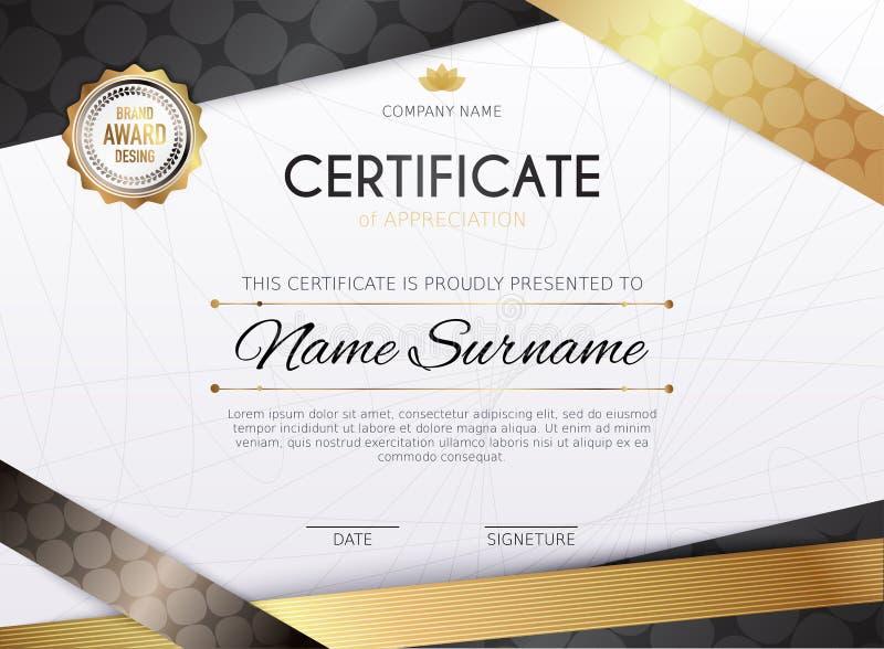 Plantilla del certificado con el elemento de oro de la decoraci?n Graduaci?n del diploma del dise?o, premio Ilustraci?n del vecto stock de ilustración