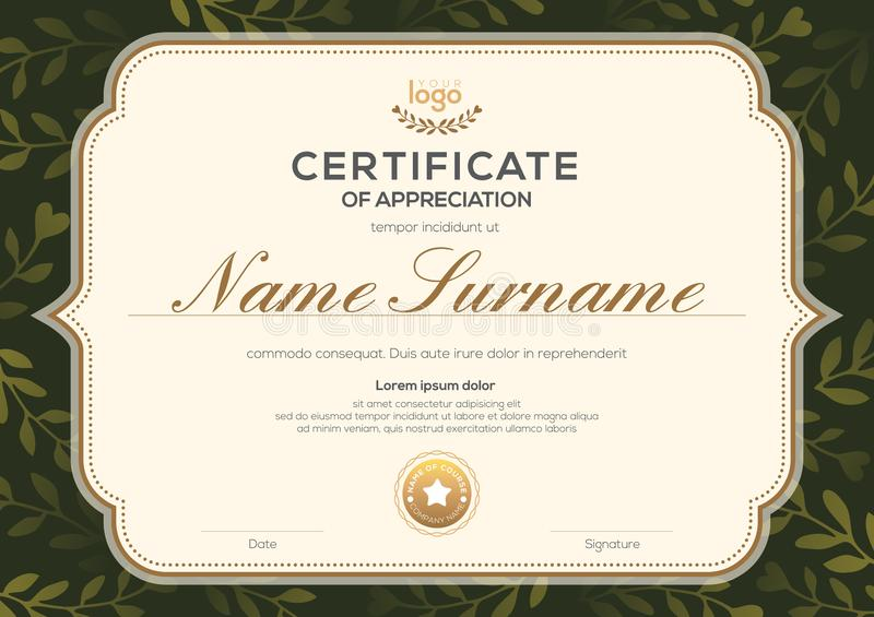 Plantilla del certificado con el marco del vintage en fondo verde oscuro del modelo de la hoja floral Certificado de aprecio, dip stock de ilustración