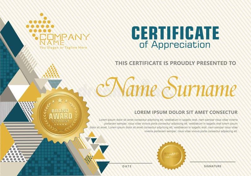 Plantilla del certificado con el modelo poligonal del estilo, elegante y moderno ilustración del vector
