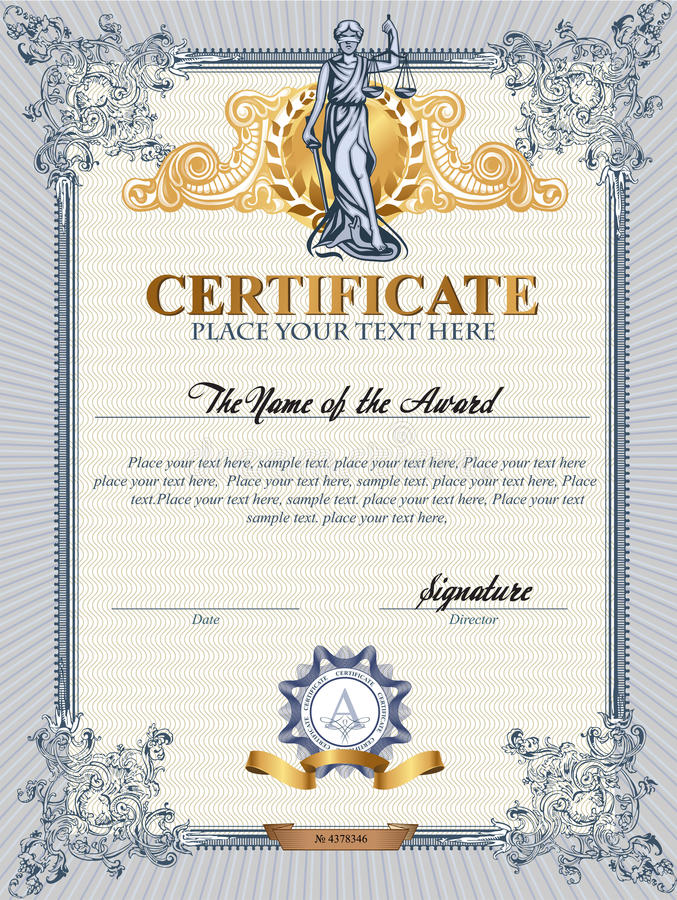 Plantilla del certificado con Femida ilustración del vector