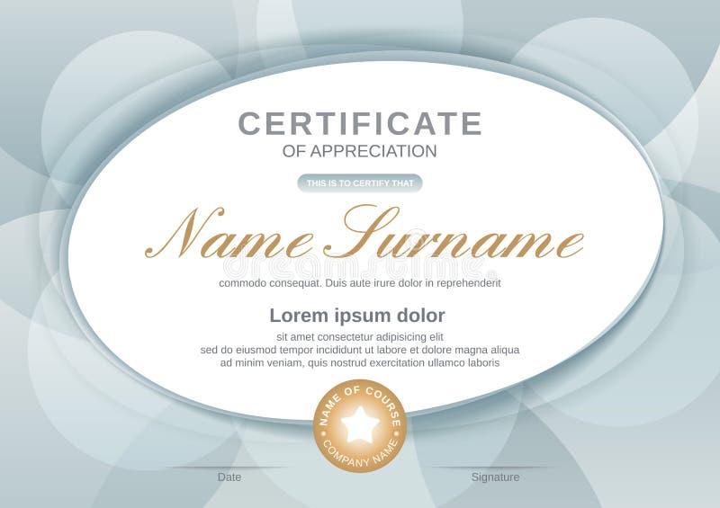 Plantilla del certificado con forma oval en fondo gris Certificado de aprecio, plantilla del dise?o del diploma del premio libre illustration