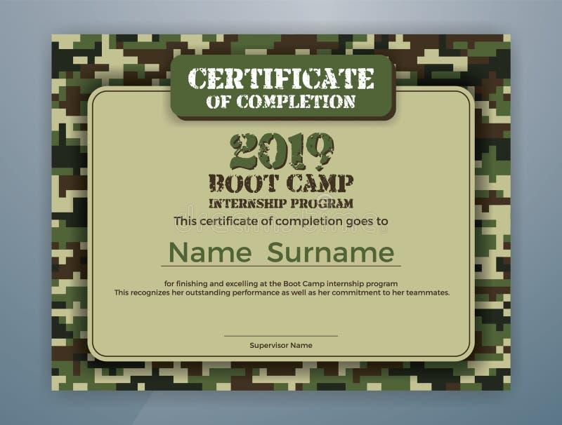 Plantilla del certificado del programa de la prácticas de Boot Camp libre illustration