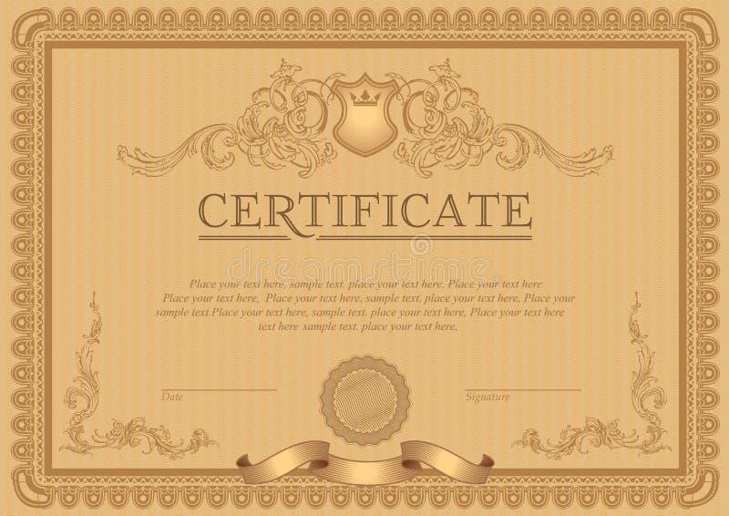 Plantilla del certificado o de la cupón stock de ilustración