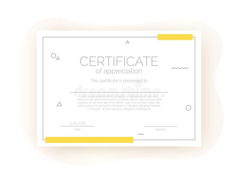 Plantilla del certificado para el negocio, cursos, competencia en estilo abstracto del minimalismo ilustración del vector