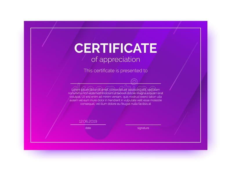 Plantilla del certificado para el negocio, cursos, competencia en estilo abstracto del minimalismo libre illustration