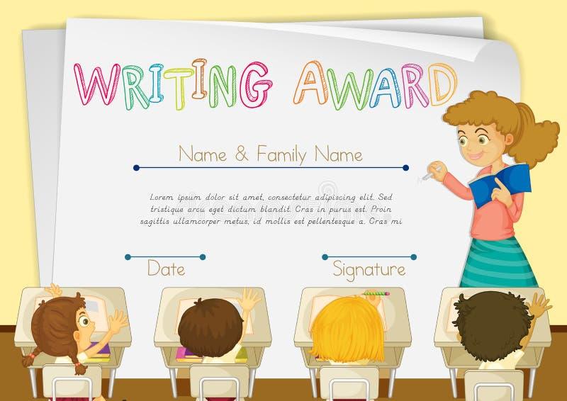 Plantilla Del Certificado Para Escribir El Premio Ilustración del ...