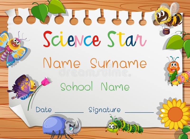 Plantilla del certificado para la estrella de la ciencia libre illustration