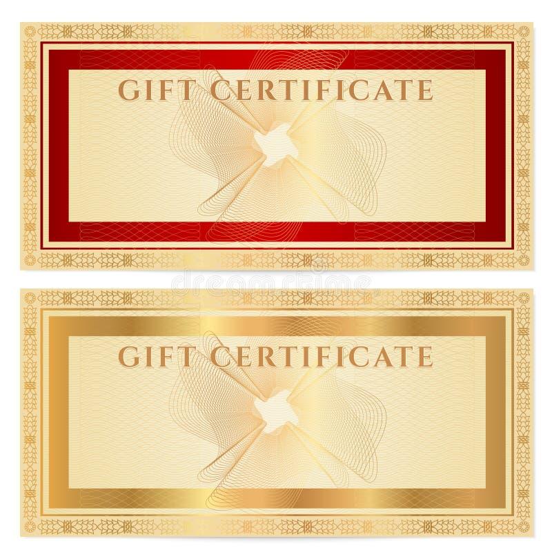 Plantilla del chèque-cadeaux (vale) con las fronteras stock de ilustración
