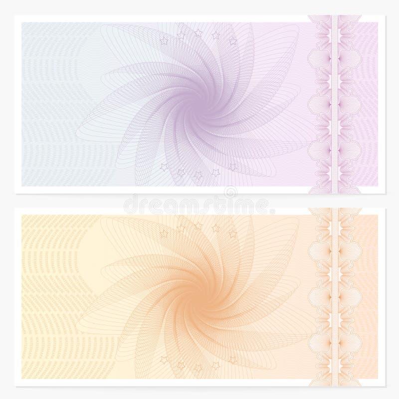 Plantilla del chèque-cadeaux (vale, cupón) stock de ilustración