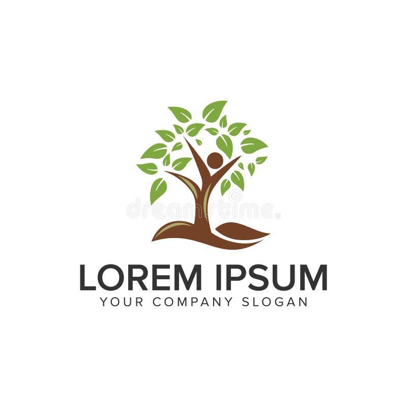 Plantilla del concepto de diseño del logotipo del árbol de la gente Completamente editable stock de ilustración