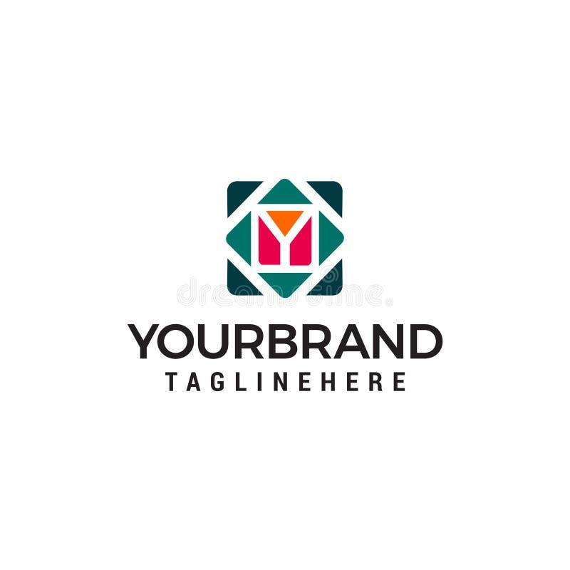Plantilla del concepto de diseño del logotipo del cubo de la letra y ilustración del vector