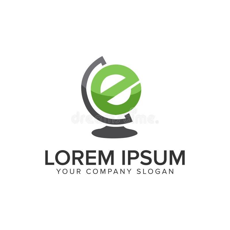 Plantilla del concepto de diseño del logotipo del globo de la letra E Completamente editable stock de ilustración