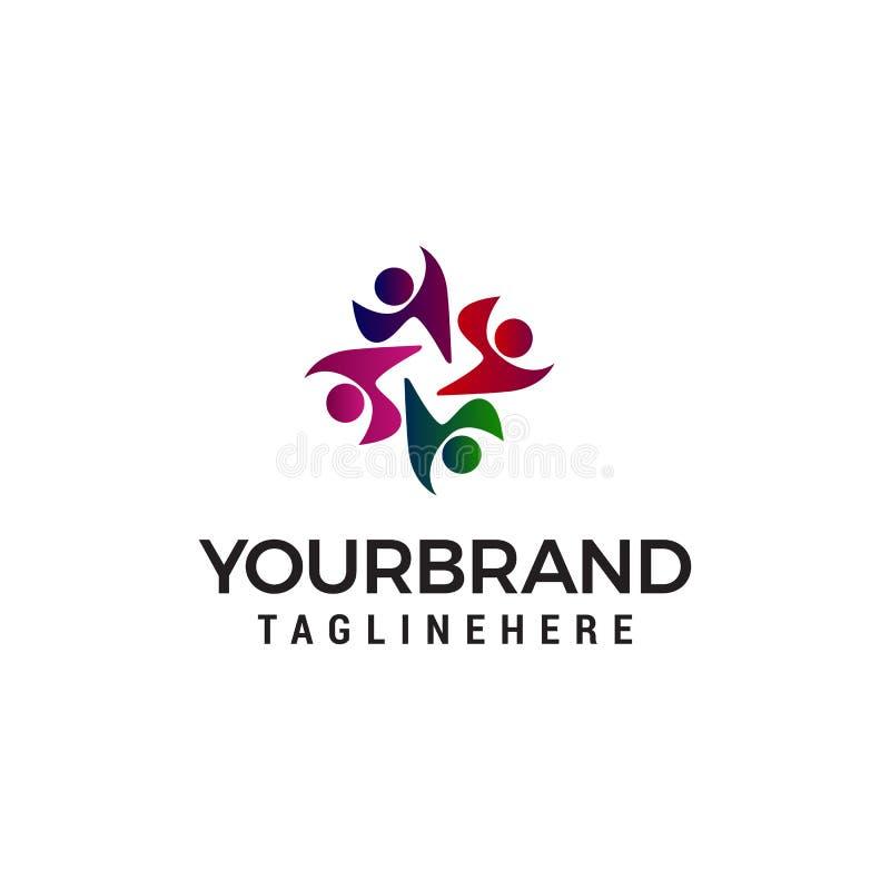 Plantilla del concepto de diseño del logotipo de la gente de la comunidad ilustración del vector