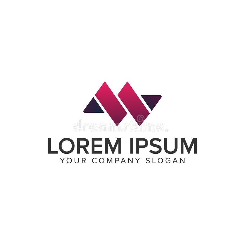 Plantilla del concepto de diseño del logotipo de la letra M o de W stock de ilustración