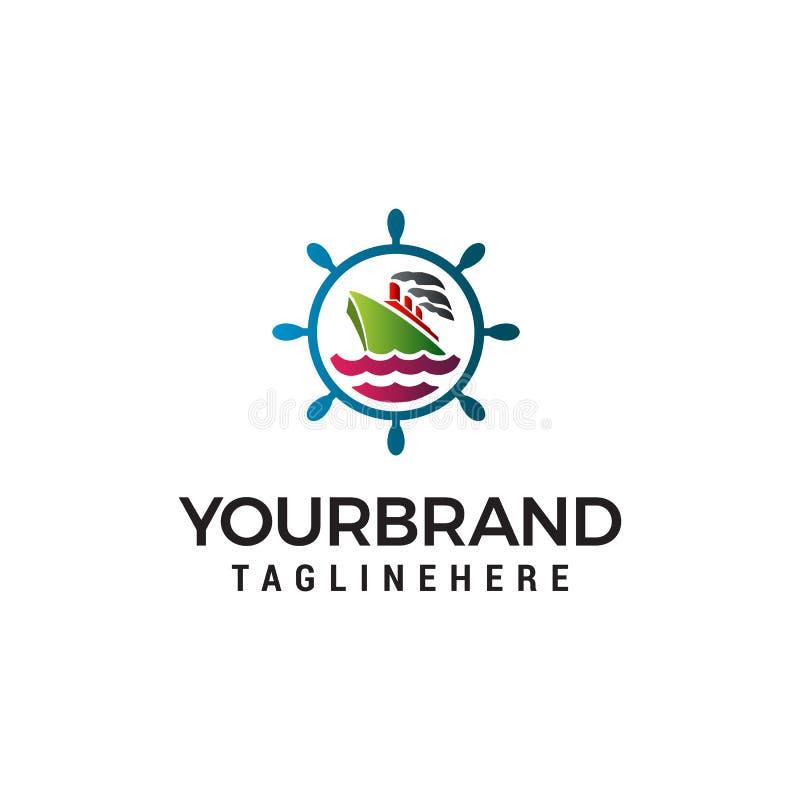 Plantilla del concepto de diseño del logotipo de Nautical del marinero ilustración del vector