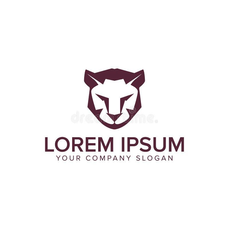 Plantilla del concepto de diseño del logotipo del tigre del león stock de ilustración