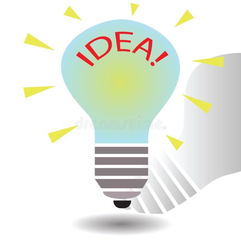 Plantilla del concepto de la idea de la bombilla stock de ilustración
