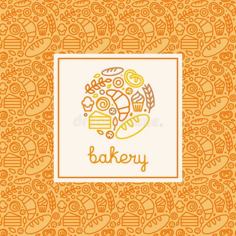 Plantilla del concepto de la panadería y del diseño del logotipo stock de ilustración