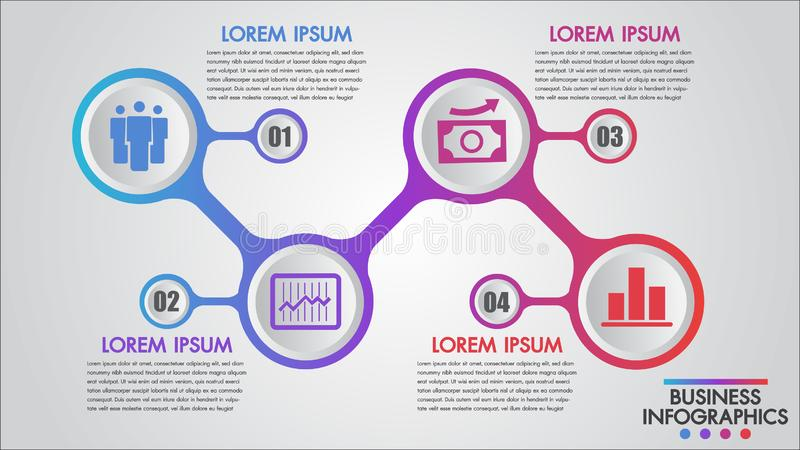 Plantilla del concepto de los pasos del negocio 4 de Infographics, educación, diseño web, banderas, folletos, opciones del número ilustración del vector