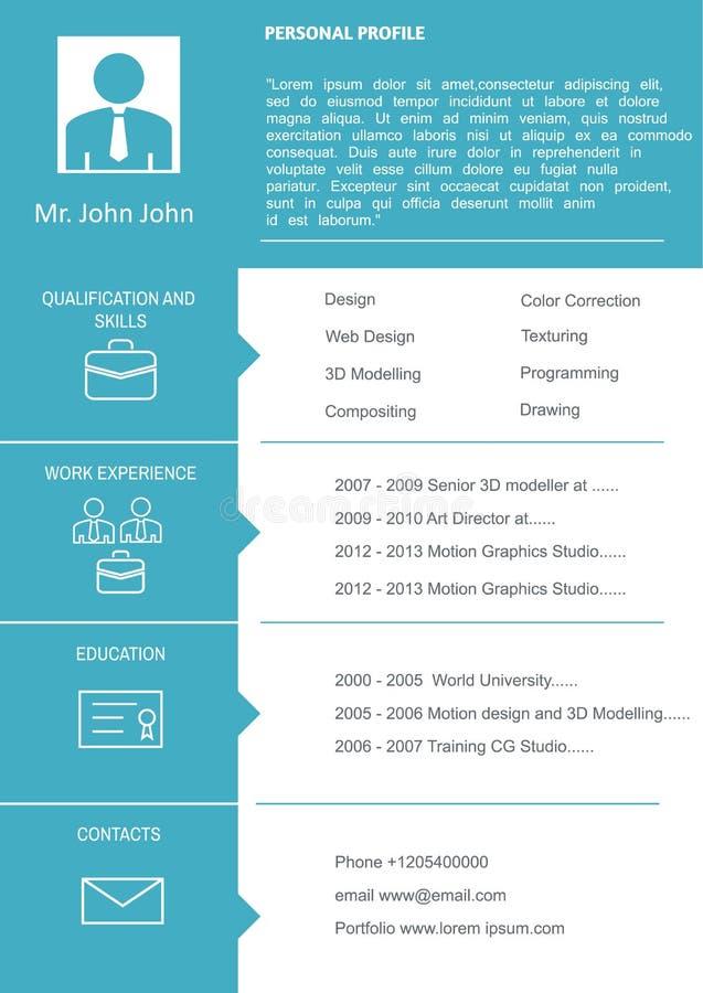 Plantilla del curriculum vitae del CV stock de ilustración