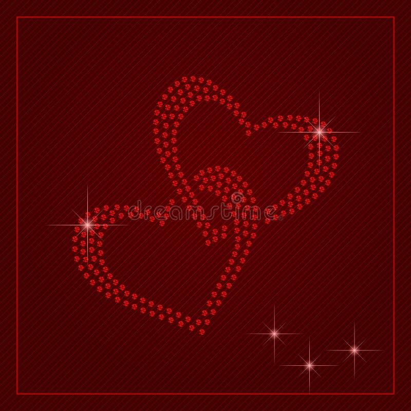 Plantilla del día de tarjetas del día de San Valentín del diamante artificial libre illustration