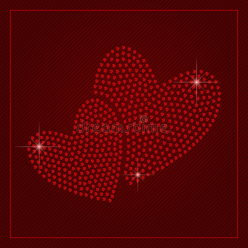 Plantilla del día de tarjetas del día de San Valentín del diamante artificial ilustración del vector