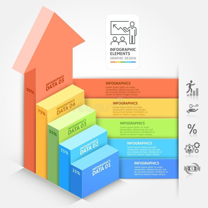 plantilla del diagrama de la escalera de las flechas del negocio 3d stock de ilustración