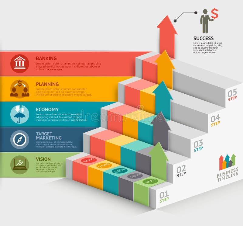 plantilla del diagrama de la escalera del negocio 3d stock de ilustración