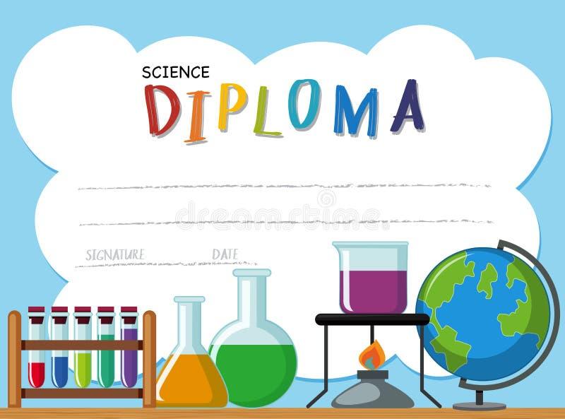 Plantilla del diploma con equipos de la ciencia stock de ilustración