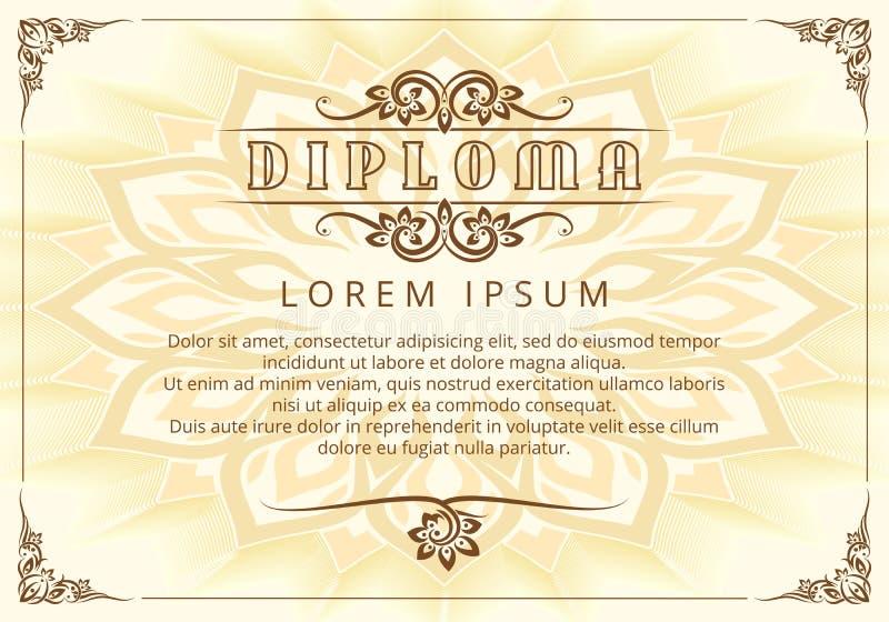 Plantilla del diploma con los elementos tailandeses del diseño libre illustration