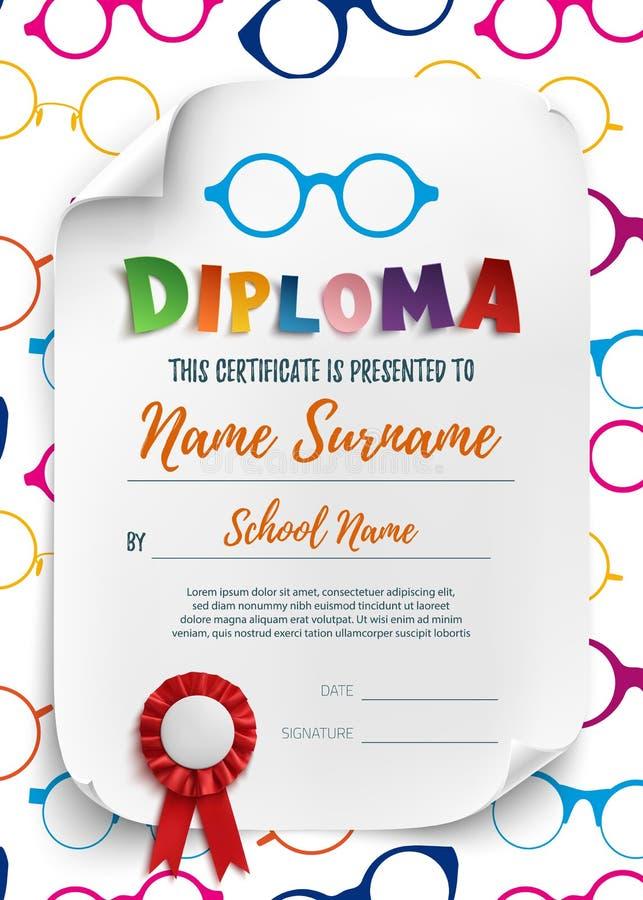 Plantilla del diploma para los niños con los vidrios de lectura stock de ilustración