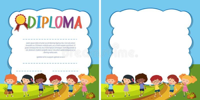 Plantilla del diploma y de la frontera con los niños felices en parque ilustración del vector