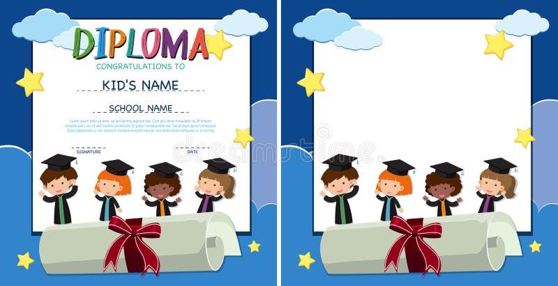 Plantilla del diploma y de la frontera con los niños felices en vestido de la graduación libre illustration